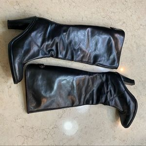 Michael Kors Stacked Heel Black Leather Boots